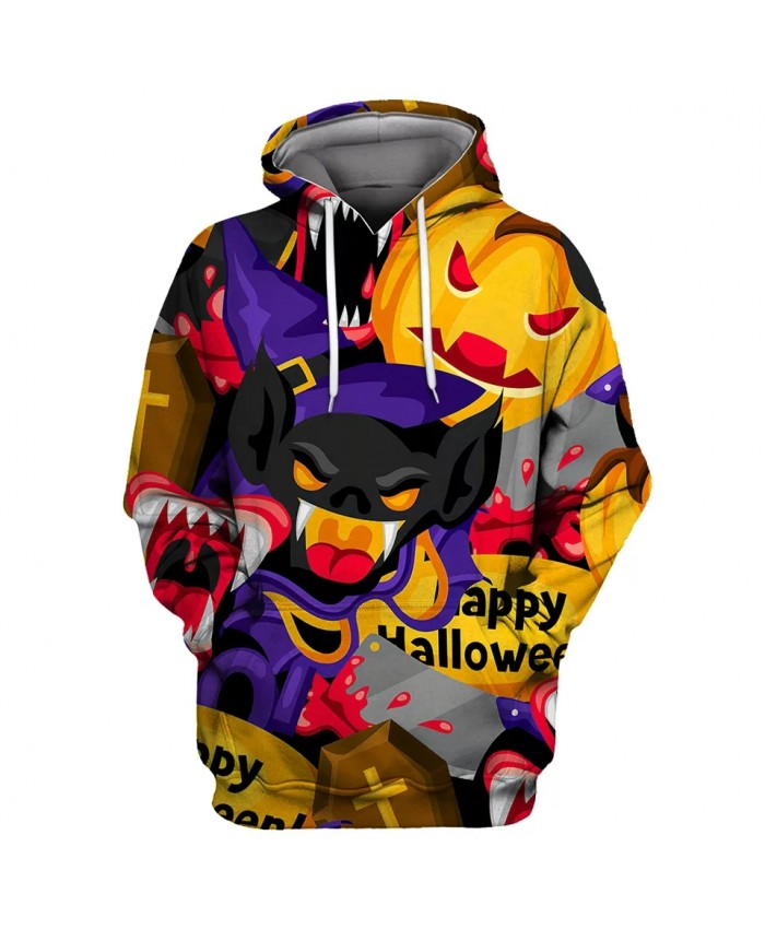 Red eyes pumpkin black cartoon bat print fashion men's 3D sportswears