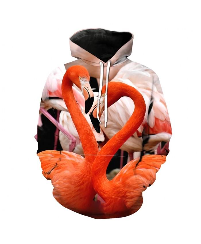 Flamingo couple print fun 3D hooded sweatshirt