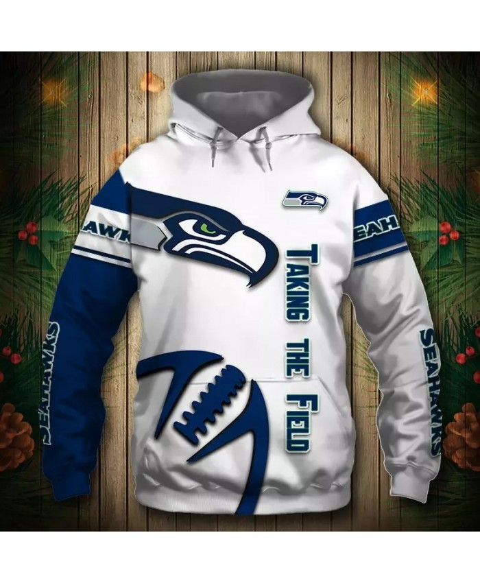 Seattle fashion cool Football 3d hoodies sportswear Blue white stitching steel rugby seabird print Seahawks sweatshirt