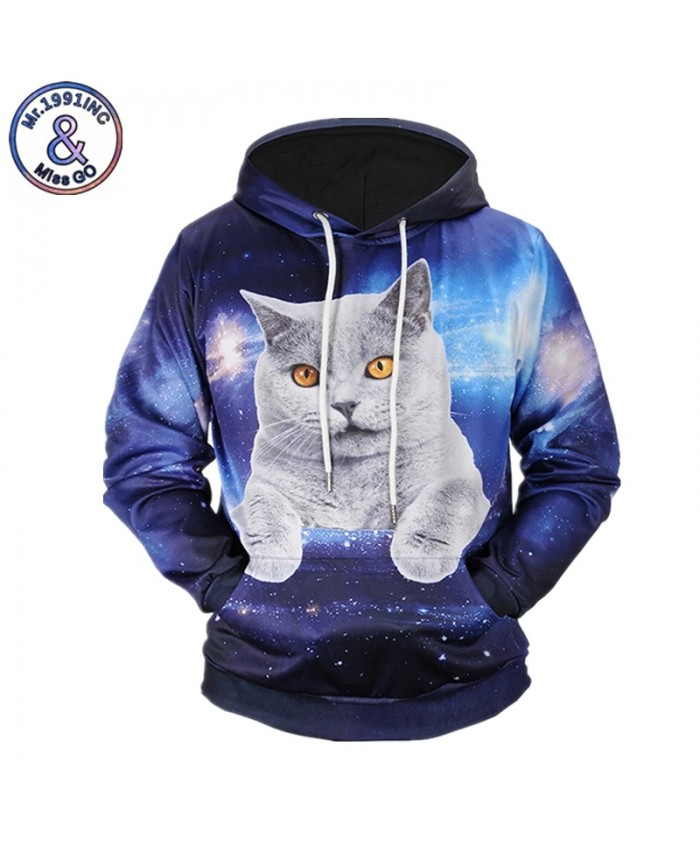 Brand Hoodies 3D Print Animal Cat Space Galaxy Sweatshirts Men Women Hip Hop Unisex Pullover With Hat Tops
