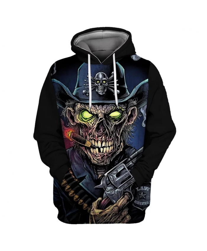 Green eyes Pirate Hat Zombie Skull Print Fun 3D Hooded Sweatshirt