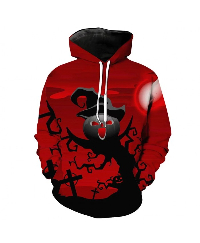 Red with black tree pumpkin print fashion casual 3D hooded sweatshirt