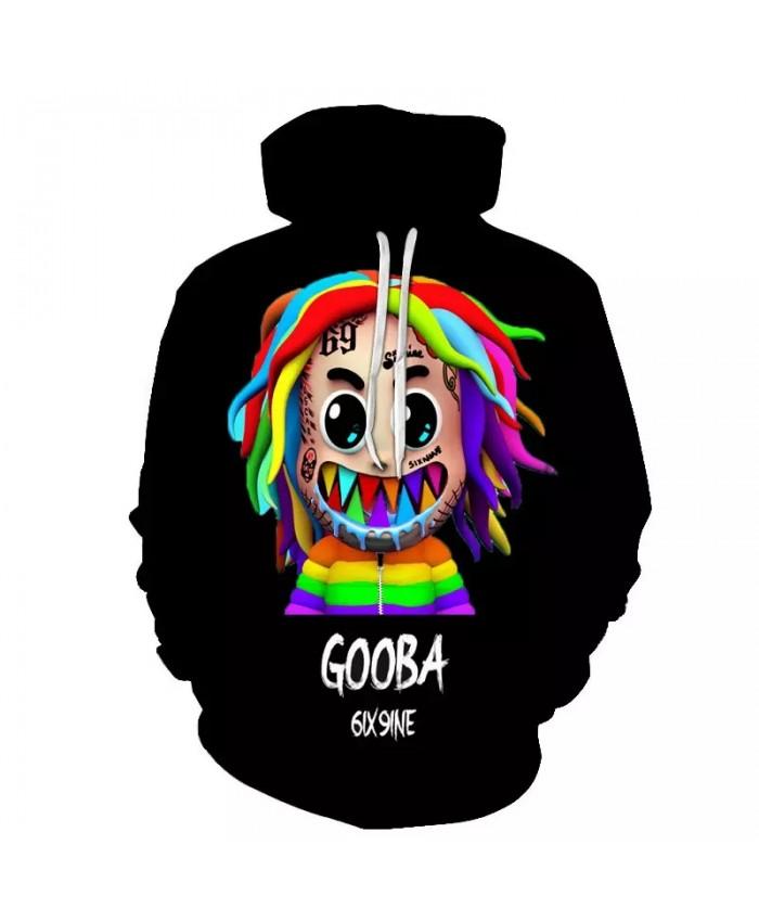 Fashion Gooba 6ix9ine men's Hoodies 3d Print Autumn Winter Sweatshirt Men hip-hop Clothes Rapper Casual Hoodie Oversized Hoody
