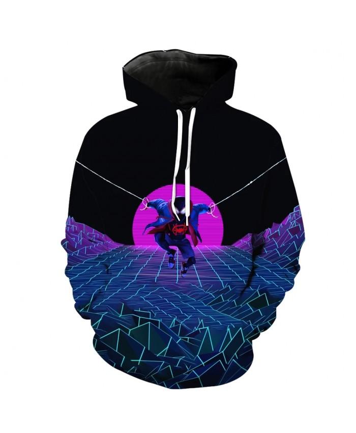 Stitching design fashion mesh printing men's 3D hooded sweatshirt