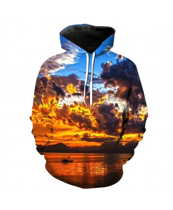 Blue sky orange cloud lake print fashion 3D men's hooded sweatshirts