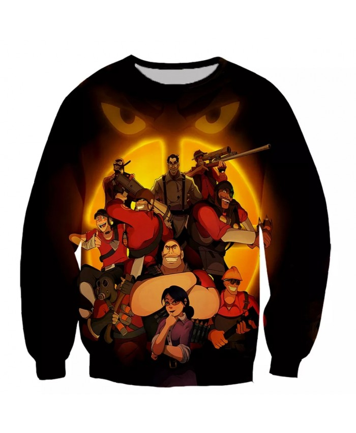 Team fortress 3  Fashion Long Sleeves 3D Print Hoodies Sweatshirts Jacket Men women tops