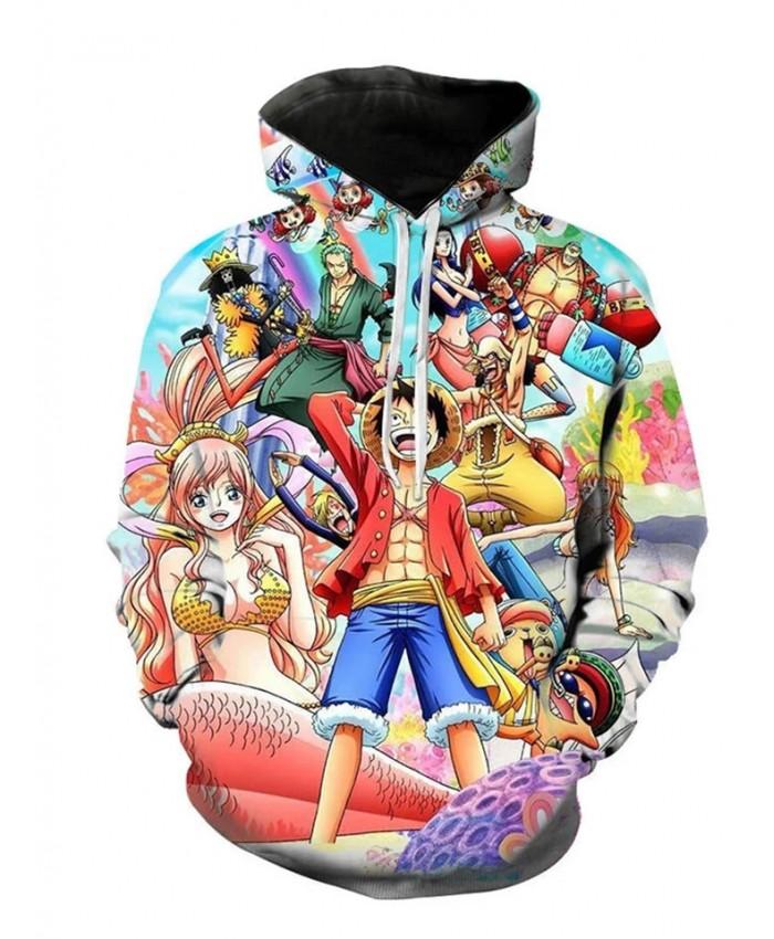 Autumn And Winter New Cartoon 3d Printed Luffy Men's And Women's Hoodies Children's Casual Long-sleeved Sweatshirt Coats