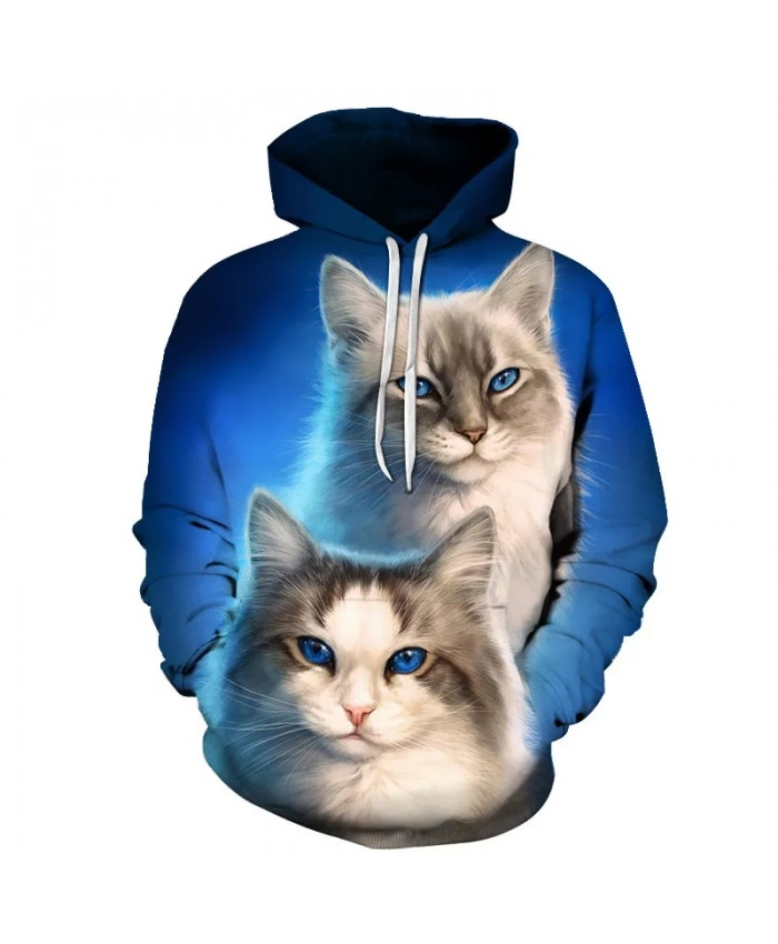 Sweatshirts Women Cute Cat Women's 3D Animal Print Hood Hoodies Ladies Long Sleeve Casual Hooded Pullover Clothes Sweatshirt