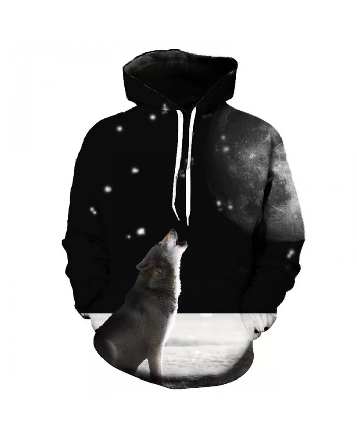 Lonely Howling Puppy Print Fashion 3D Hooded Sweatshirt