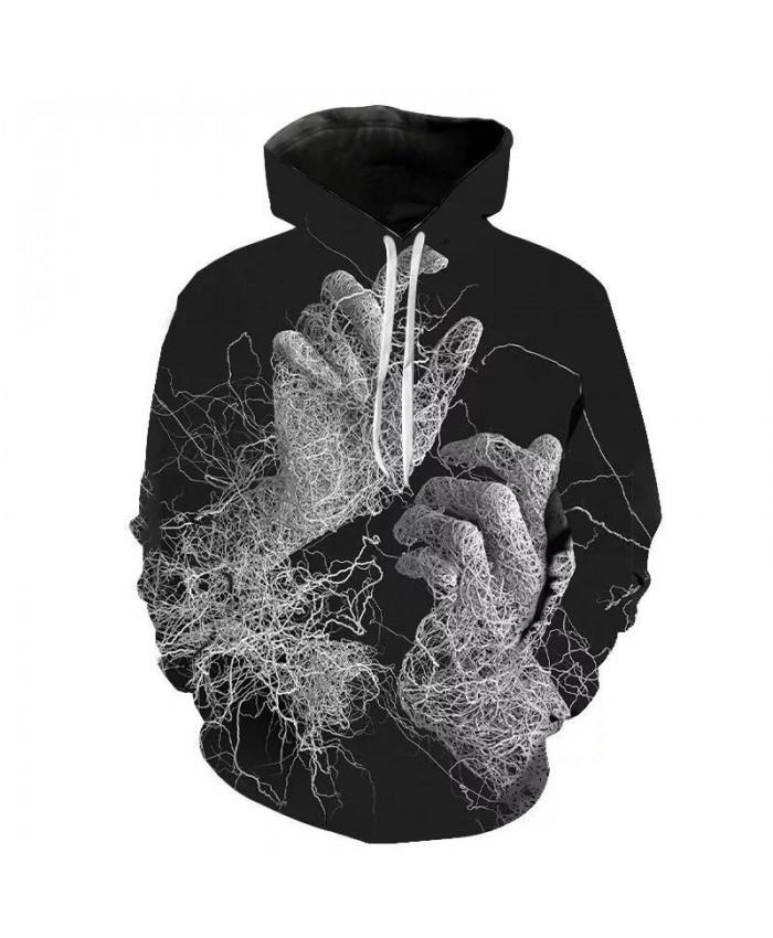 Hot Sale 3D Big Hand Printed Bone Pattern Hoodie Men Clothes 3D Visual Creative Streetwear Casual Long Sleeve Funny Sweatshirt