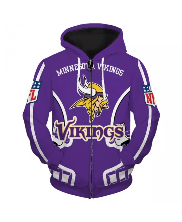Minnesota Fashionable American Football Vikings Zipper hoodies Purple Helmet Long Horn Warrior Print Cool sweatshirt