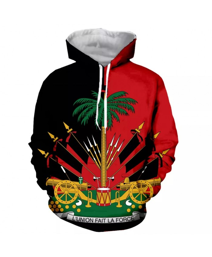 HAITI Fashion Long Sleeves 3D Print  Hoodies Sweatshirts Jacket Men women