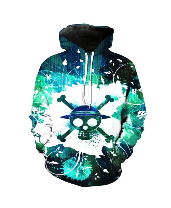 Stitching design green snowflake metal skull print fashion 3D hooded sweatshirt