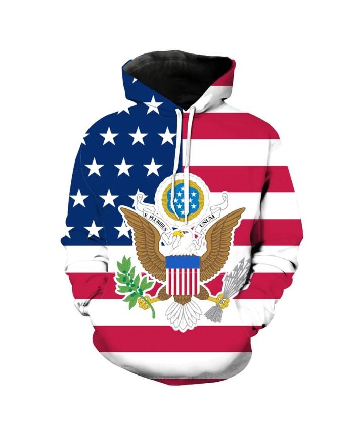 Fashionable Men's Streetwear American Flag Printed Cool 3D Hooded Sportswear