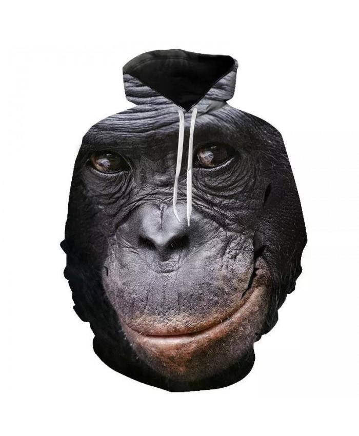 Autumn new animal gorilla monkey hoodie men and women 3D sweatshirt oil orangutan print hooded jacket hip hop street shoot
