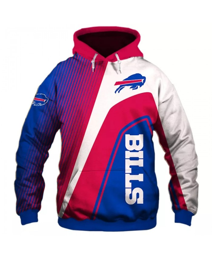 Buffalo fashion cool Football 3d hoodies sportswear Red blue white stitching stripes design bull print Bills sweatshirt 1