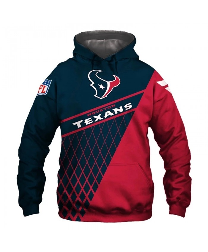 Houston fashion cool Football 3d hoodies sportswear Navy blue red stitching grid geometric bull head print Texans sweatshirt