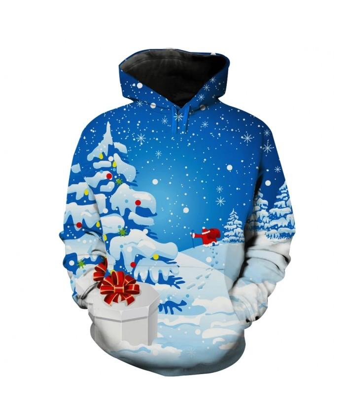 Falling Snow Cute Gifts Santa Print Men's Casual Hoodies