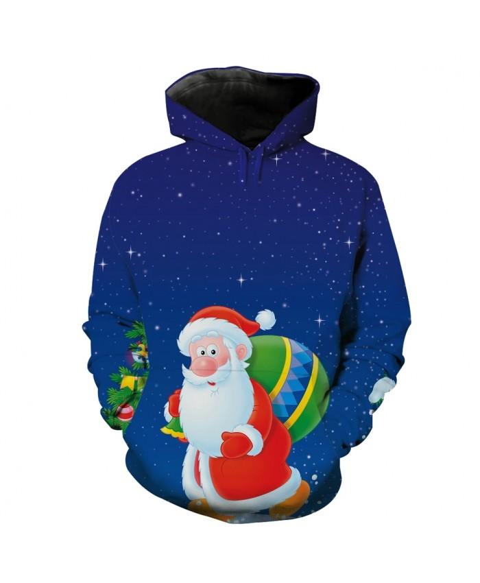 Cute cartoon santa snow night print 3D casual fun hooded sweatshirt