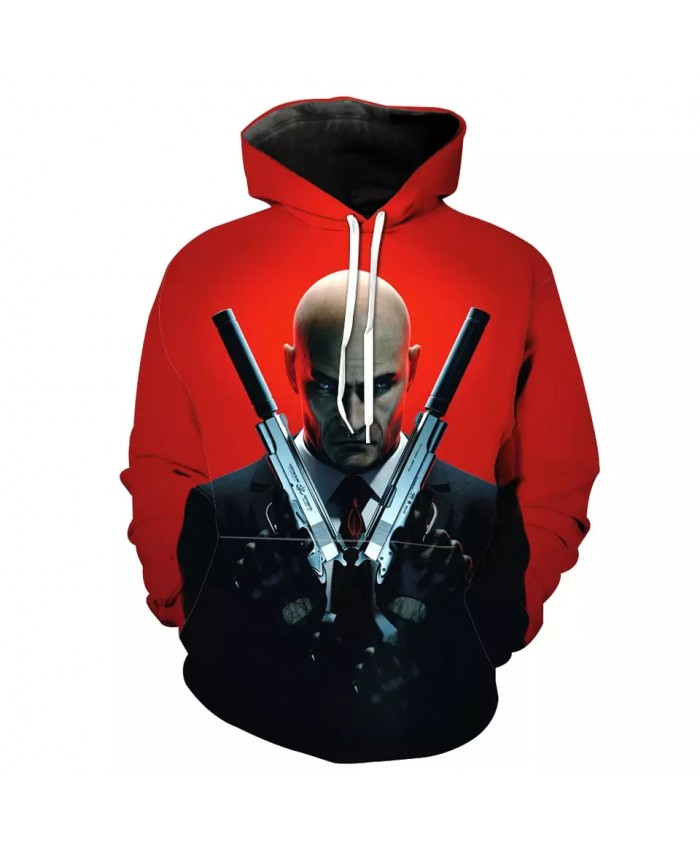Double Knife Warriors Printed Red Casual 3D Hooded Sweatshirt