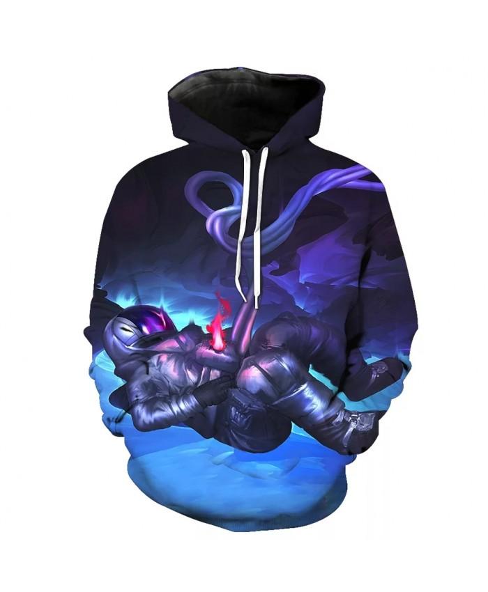 Blue ice cube red flame armor samurai print fashion 3D hooded sweatshirts
