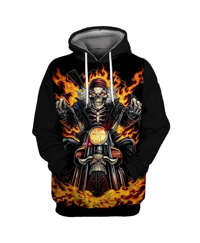 Black sky flame motorcycle skull print casual men's sportswears