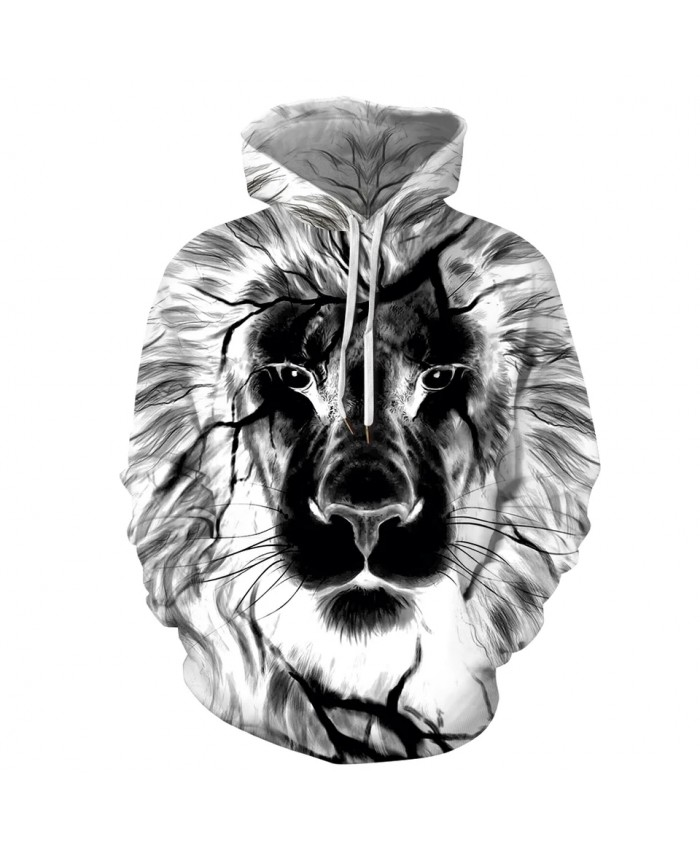 Men's 3D Harajuku Print Lion Head Hoodie Autumn Winter Hip Hop Hoody Tops Casual Brand Sweatshirt Dropship