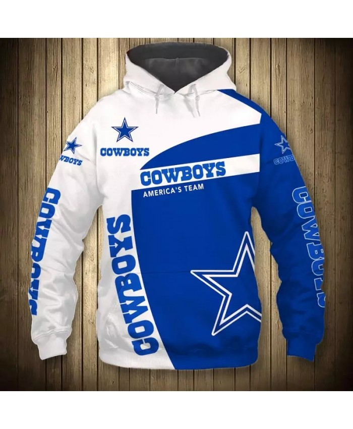 Dallas fashion cool Football 3d hoodies sportswear White blue geometric stitching five-pointed star print Cowboys sweatshirt