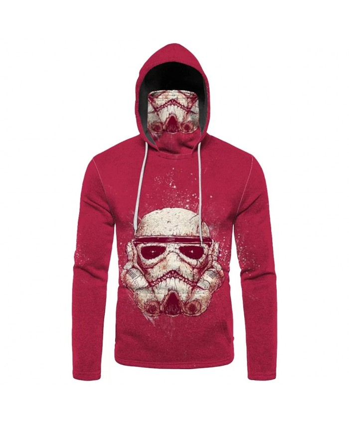 Skull mask print men's casual mask hooded sweatshirt fashion sportswear