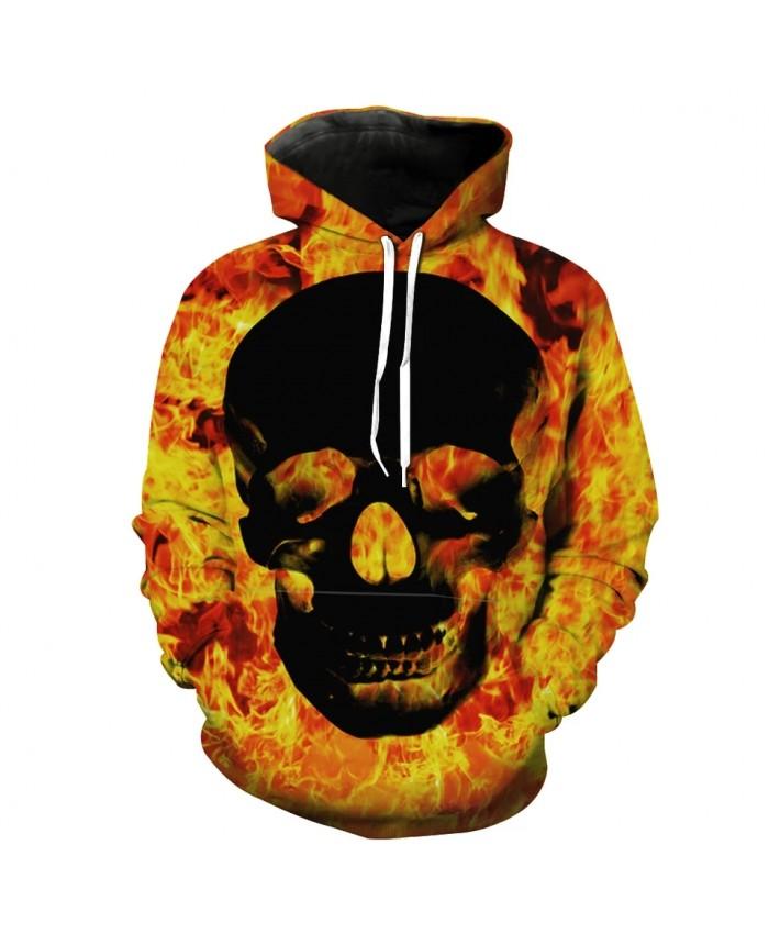 Burning flame black skull print fashion 3D hooded sweatshirt