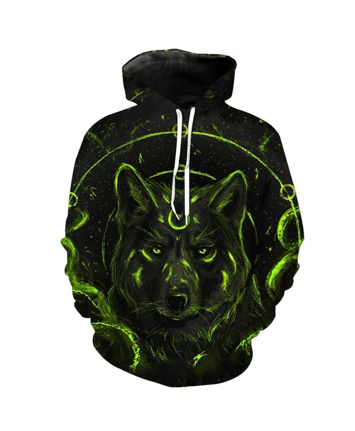 Green metallic circle wolf print fun 3D hooded sweatshirts
