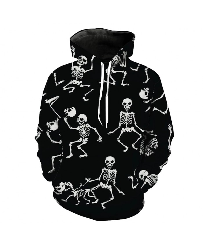 Men's Fashion 3D Hoodie Multiple poses skull print sweatshirt