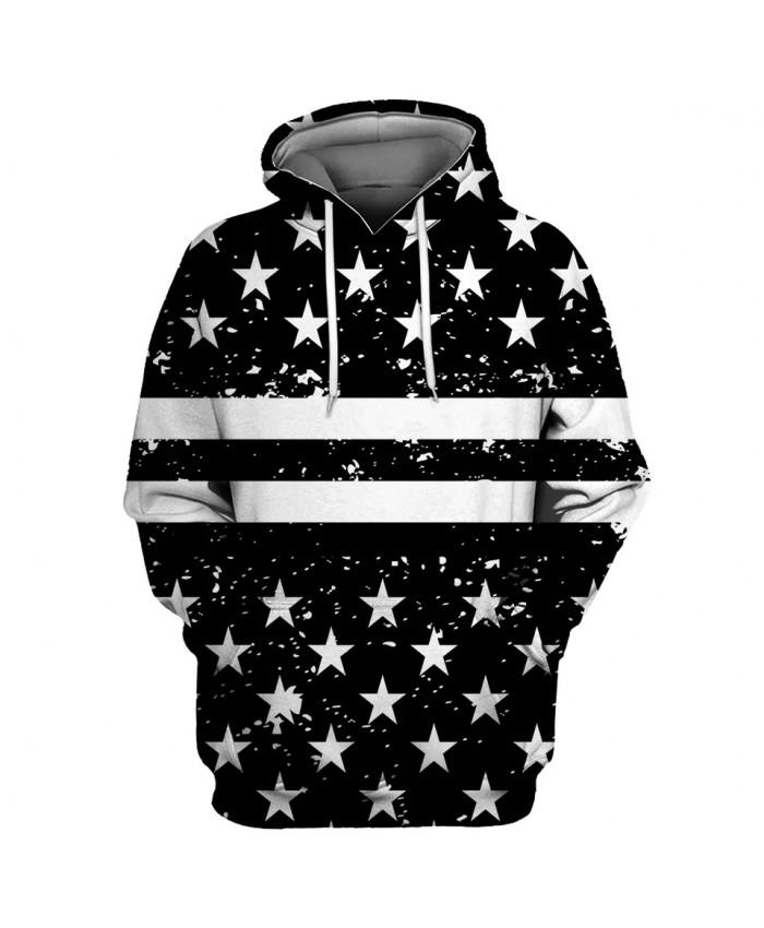 White star stitching stripe printing fashion men's 3D hooded sweatshirts