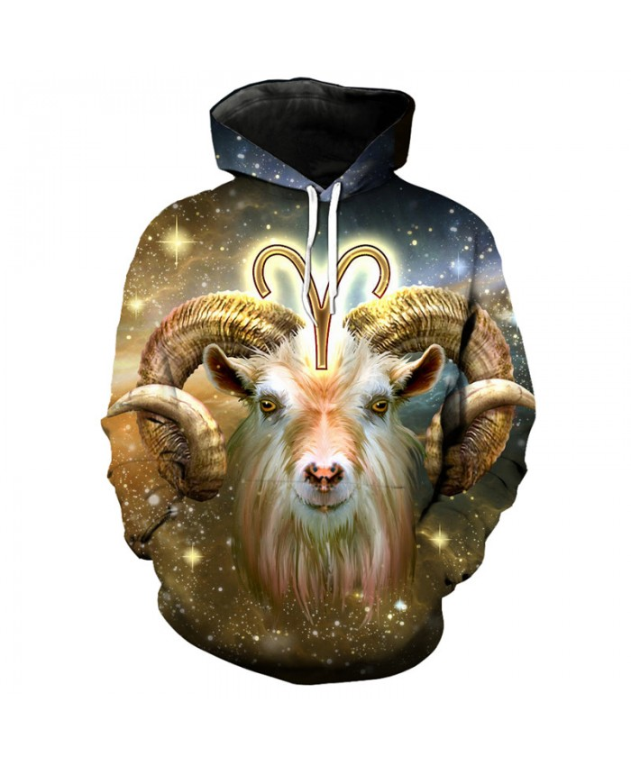 12 constellation Aries print 3D hooded sweatshirt pullover