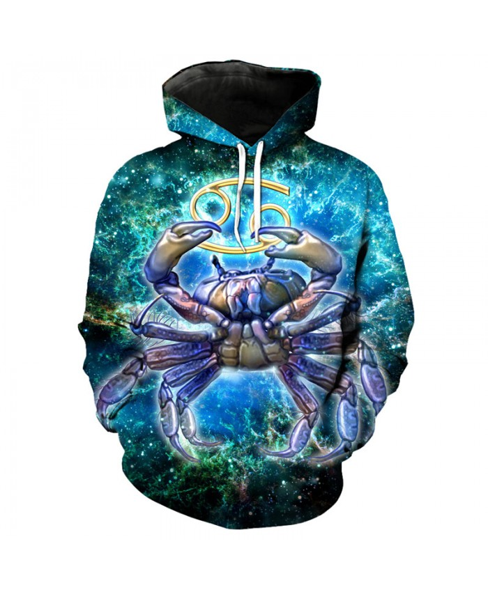 12 constellation Cancer print 3D hooded sweatshirt pullover