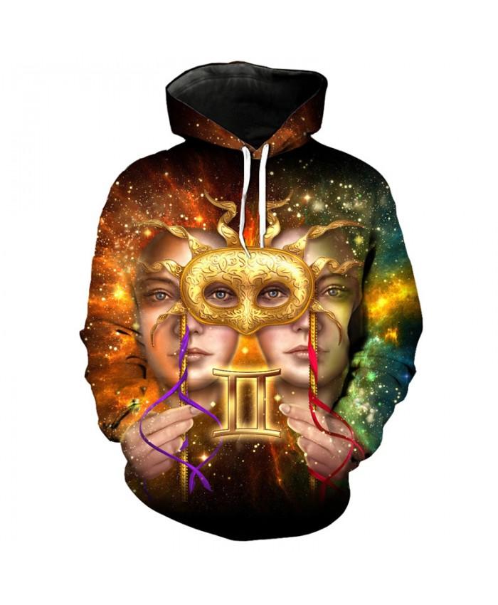 12 constellation Gemini print 3D hooded sweatshirt pullover