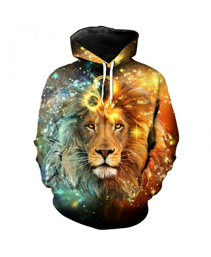 12 constellation Leo print 3D hooded sweatshirt pullover
