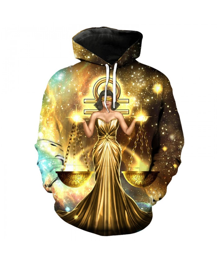 12 constellation Libra print 3D hooded sweatshirt pullover