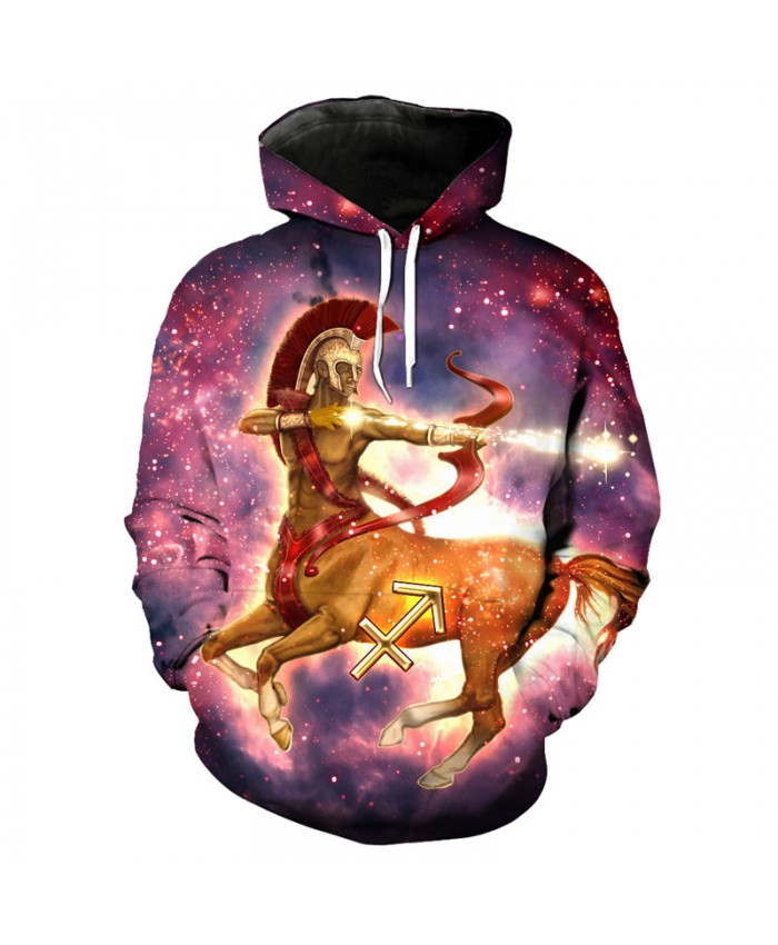 12 constellation Sagittarius print 3D hooded sweatshirt pullover