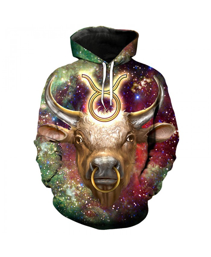 12 constellation Taurus print 3D hooded sweatshirt pullover