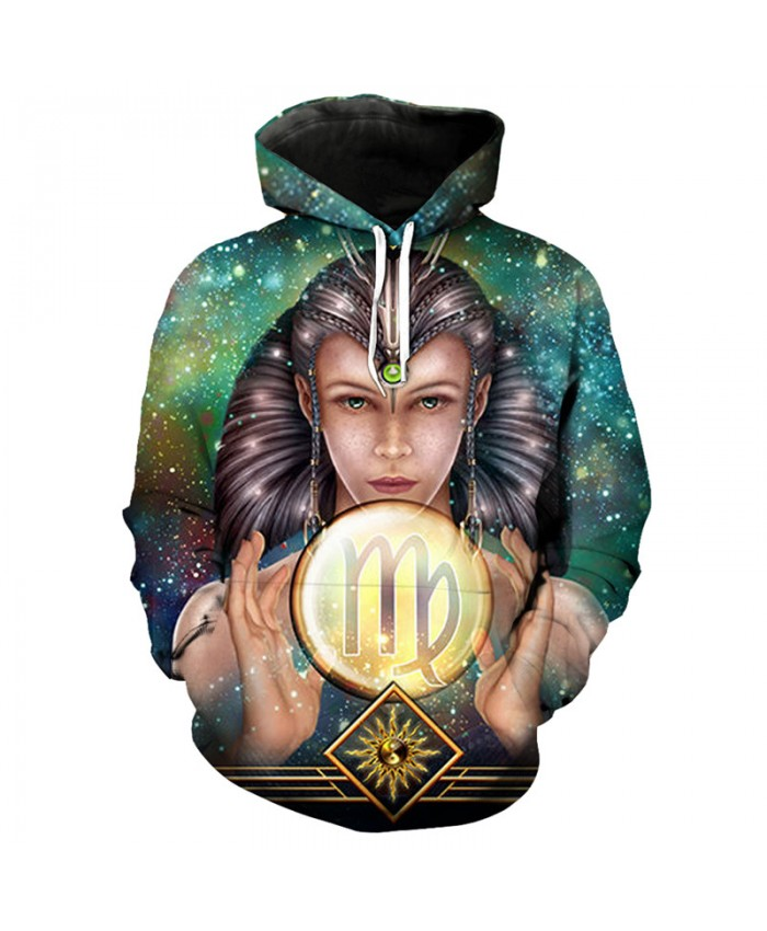 12 constellation Virgo print 3D hooded sweatshirt pullover