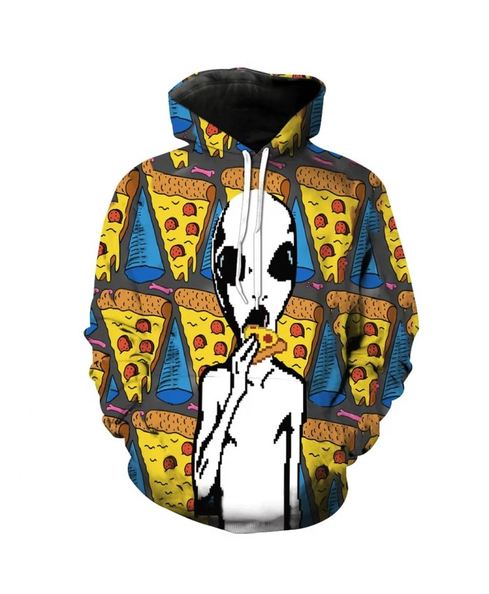 Pizza House White Alien Print Cool 3D Hooded Sweatshirt