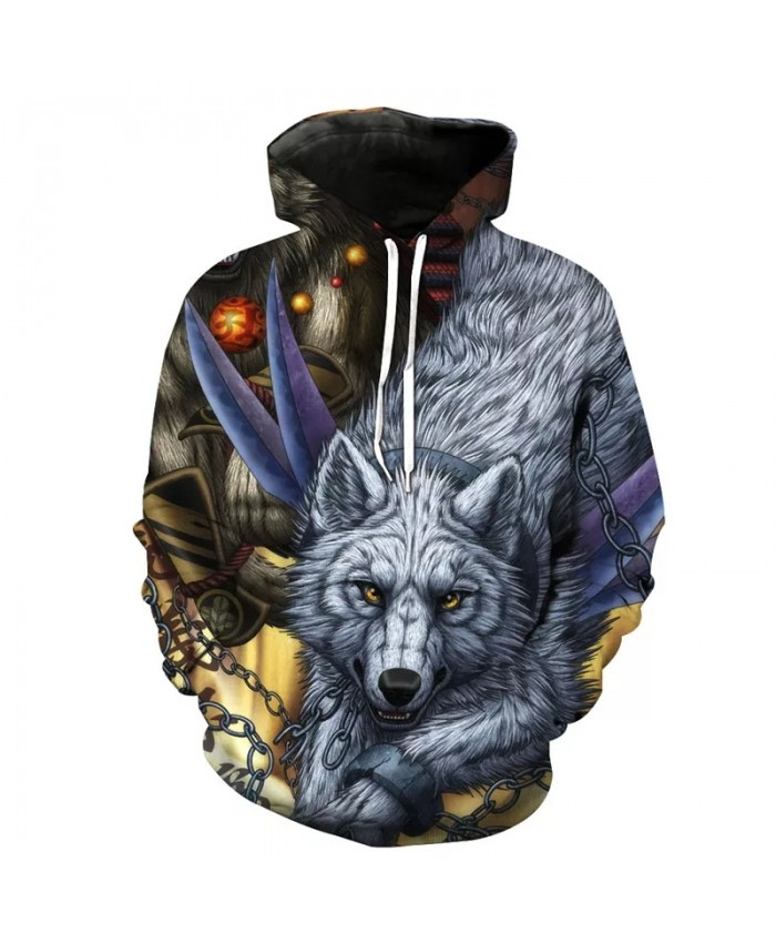 Red flame black chain gray wolf print fashion 3D hooded sweatshirts