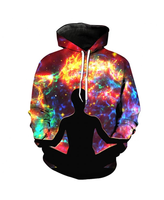 Colorful galaxy black silhouette print fun 3D hooded sweatshirt