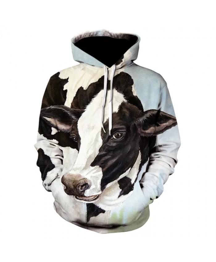 Men's personality animal cow-head hoodie fashion men and women wear long sleeves street dairy printed hoodie coat