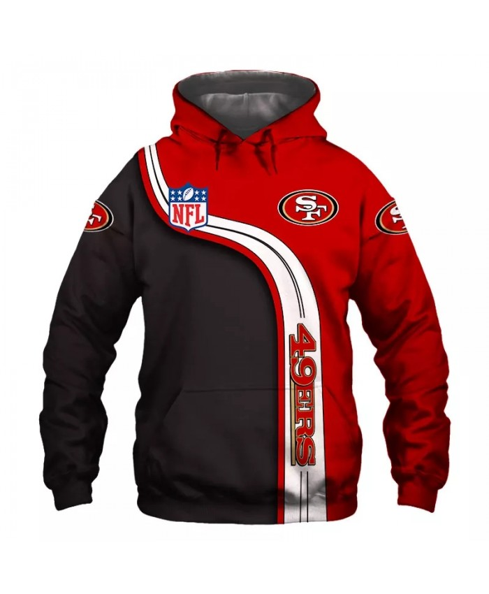 San Francisco fashion cool Football 3d hoodies sportswear Black red stripes stitching letter print 49ers sweatshirt