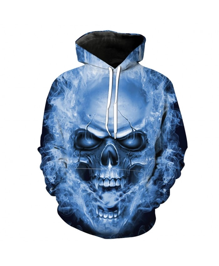 Men's Fashion 3D Hoodie Blue flame roaring skull print sweatshirts