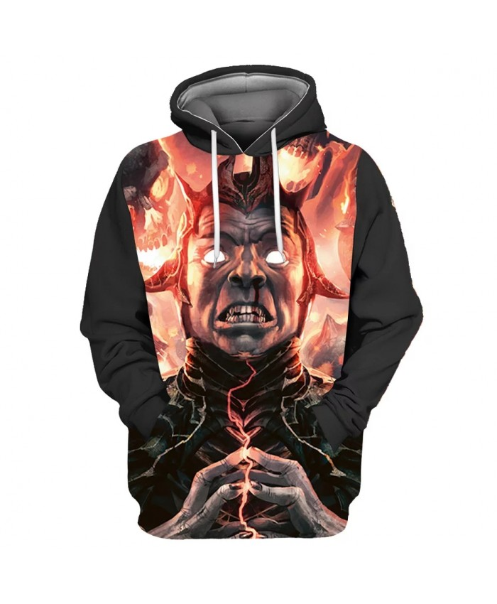 Red flame roar warrior print cool 3D sweatshirt