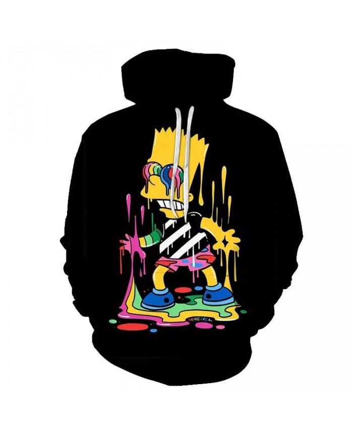 2021 New Simpsons Anime Streetwear Graffiti 3D Hoodie Printed Boys Girls Autumn Fashion Hoodie Fun Wild Fashion Hip Hop Hoodie