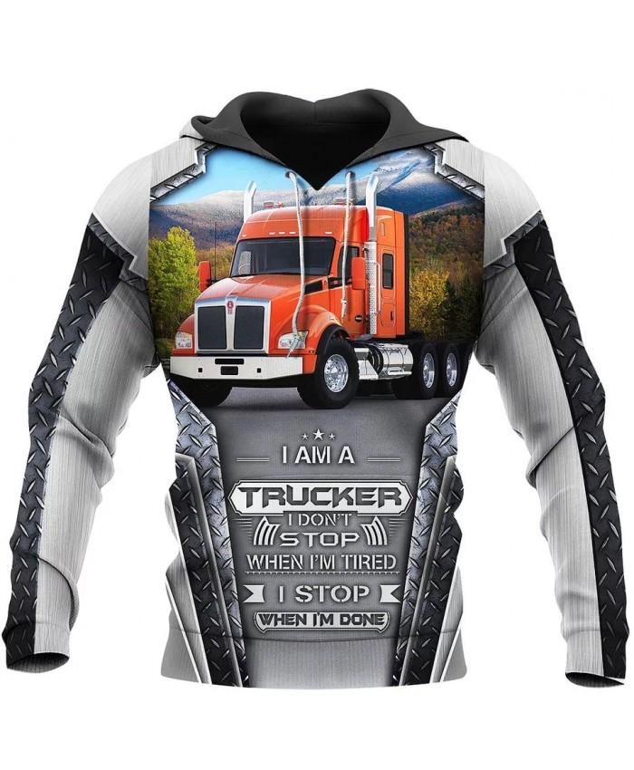 New style hoodie I am a trucker 3D printed sweatshirt hoodie zipper hoodie fun fashion street unisex casual sports hoodie NO003